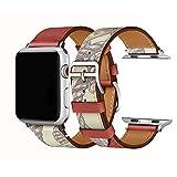 Cailin Compatible con iWatch Bracelet 38mm 42mm 40mm 44mm, Reemplazo de Correa de Reloj de Cuero Genuino para Watch Series5 Series 4, Series 3, Series 2, Series 1 (38mm/40mm, Brick Red)