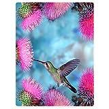 Blankets Fleece Blanket Warm Throw for Sofa Bed Hummingbird Dandelion Pink Flowers 30' x 40'