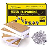 PRIMBEEKS Premium Blank Flip Books Paper with Holes, 280 Sheets (560 Pages) No Bleed Flipbooks -...