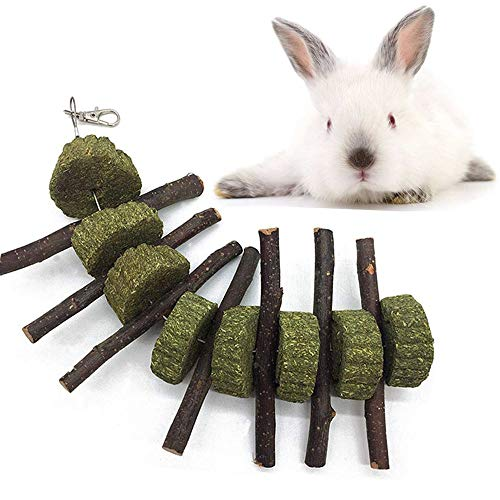 Leeko Bunny Chew Toys for Teeth, Organic Apple Wood Sticks Rabbits Improves Dental Health, Pet Snacks Toys with Grass Cake for Rabbits, Cats, Hamsters, Gerbils Birds