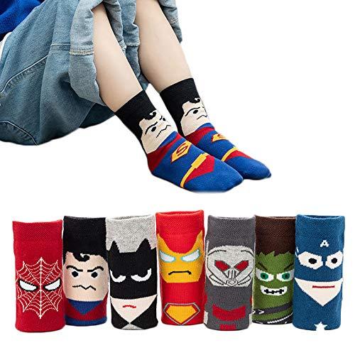 5 Paar Socken für Kleinkinder, Kinder, Jungen, Baumwolle, Anime, Superman, Sp-iderman-Design, Socken für Kinder, flippige Socken, niedliche Socken, 1–10 Jahre alt (Farbe: Spiderman, Größe: S)