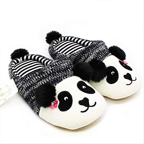 MXSWZ Hiver Chaud Belle Animal Pantoufles Panda Maison pour Hommes Femmes Enfants Tricoté en Caoutchouc De Coton Intérieur Non Slip Maison Chaussures 8 Panda