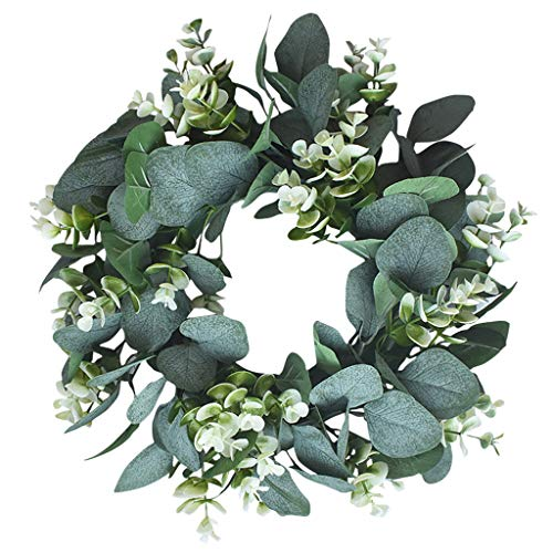 PIKAqiu33 Simulation Garland Door Decoration Ring Small Thorn Door Leaf Wreath, Artificial, for Xmas Day and New Year (Green)