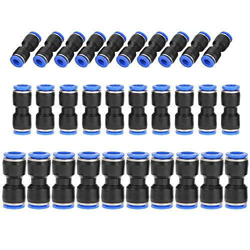 Amaoma Enchufe Rapido Neumatico Conectores de Empuje Recto Conectores de Liberación Rápida de Plástico Accesorios de Línea de Aire para 1/4 5/16 3/8 Tubo Conectores Rapidos, 30 Piezas