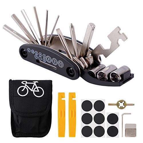 Herefun Fahrrad-Multitool, 16 in 1 Multitool Fahrrad Reparatur Set, Multifunktionswerkzeug Fahrrad, Werkzeugset Fahrrad mit Tasche, Selbstklebendes Fahrradflicken, 240g