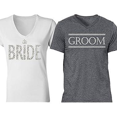 NoBull Woman Apparel Bride & Groom Couples Shirts White Silver Gray (Men XL - Women M)