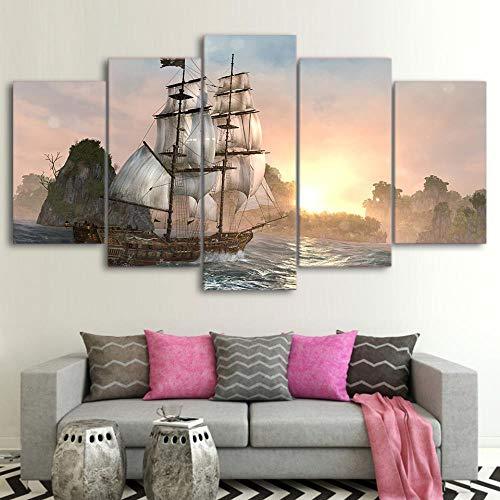 ZHWLHX Moderne Decoratieve Kamer Wandframe 5 Onderdelen Boot Zee Zonsondergang Landschap Kunst Schilderen Poster Modulaire Canvas Hd afdrukken Afbeelding Thuis Moderne Decoratie Woonkamer 200X100CM