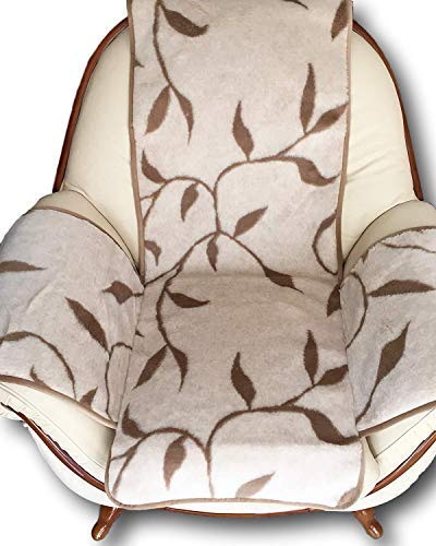 Sesselschoner Zweige beige, mit Seitentaschen, Überwurf, mit Kaschmirwolle