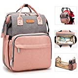 Diaper Bag Backpack with Bassinet Folding Crib, 3 in 1 Mummy Travel Foldable Baby Bed, Portable Diaper Changing Station, Waterproof Bag with USB Charging Port,Heat Preservation Pockets,Mattress