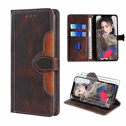 xinyunew Lederhülle für LG K52 Hülle mit 2 Stück Panzerglas Schutzfolie, PU Leder Flip Wallet Handyhülle für LG K52 Handyhülle-Braun