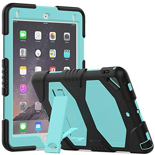 Timecity iPad 6th/5th Generation Case (2018/2017 Release),iPad Pro 9.7/Air 2 Case(2016/2014 Release).Shockproof Soft Silicone Bumper Protective Rugged Stand Heavy Duty Protective Cover - Sky Blue