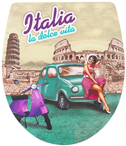 ADOB, Design WC Sitz Klobrille Italia la dolce Vita, Absenkautomatik, abnehmbar zur Reinigung, 60838