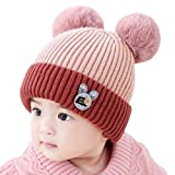 Newborn Baby Knit Hats Cap Toddler Infant Warm Beanies with Faux Fur Pompom Ears Boys Girls Windproof Skull Cap Pink
