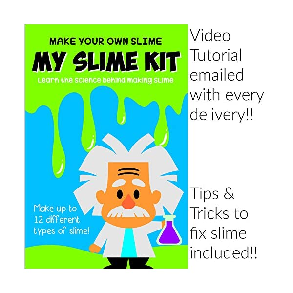 Make Your Own Slime! Kit W/ Containers & Lids, Clay, Foam Beads, Glue, Glitter Powders with Accessories! Recipes for Making Color and Different Types of Slime How to Make Slime Recipes Included 8