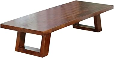 Coffee Table Solid Wood Table Tatami Bay Window Table Balcony Desk Living Room Plus Long Table Tables (Color : Brown, Size :