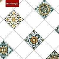 ウォールステッカーステッカー壁紙 キッチンオイルプルーフステッカー高温クックトップ自己接着タイルキャビネットカウンターレンジフード壁ステッカー壁紙 (Color : Indian style, Dimensions : 5mx60cm)