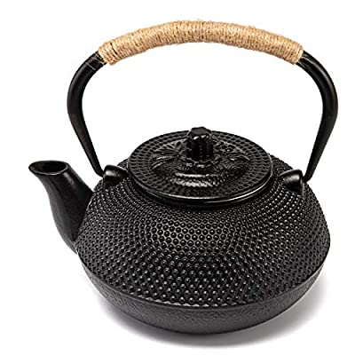 TOWA Workshop Japanese Tetsubin Cast Iron Teapot Tea Kettle pot with Stainless Steel Infuser for Stovetop Safe Coated with Enameled Interior?Black (900ML)