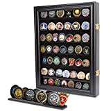 KINTNESS Military Challenge Coin Display Case Cabinet Lockable Rack Holder Shadow Box
