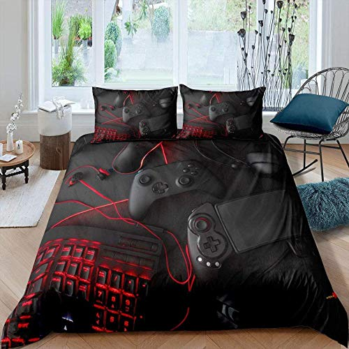 Bcooseso 3D Bedding Set Quilt Cover ( Double size 200 x 200 cm ) Video game black gamepad red keyboard patterns Twin Bedroom Decor for Kids Boy Girl Queen King Size Bedding Set + 2 Pillowcase 50 X 75