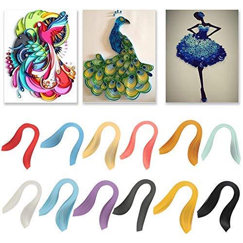 HEEPDD papier quilling strips, 600 strips 3 mm breed Pure Color Origami papier Kleurrijke Kunstdrukpapier stroken DIY papier Hand Craft Decoratie