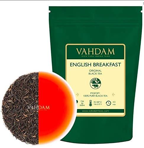 Desayuno inglés original Hojas de té negro, 454 gramos (200 tazas) FUERTE, RICO Y...