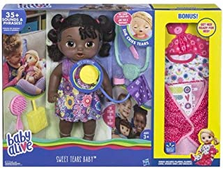 Girls Kids Fun Toys Play Baby Alive Sweet Tears Baby African American with (Extra Bonus Clothing & 11 Piece Tea Set)