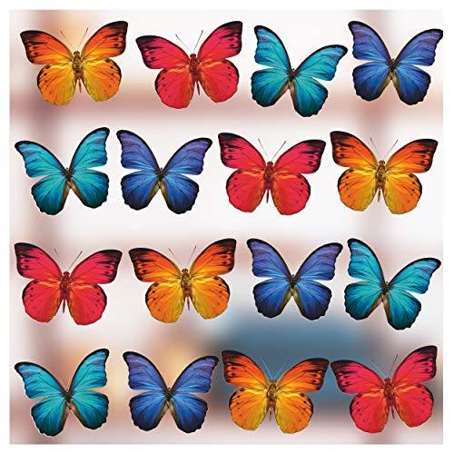 Stickers4 Vlinder raamstickers om te beschermen tegen vogelaanvaring - 16 prachtige vlinderglasstickers, dubbelzijdig en zelfklevend om te beschermen tegen botsingen met vogels