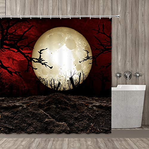 Gothic Ornament Series Shower Curtain, Dark Night in The Forest with Full Moon Horror Theme Style Halloween Photos, Polyester Fabric Bathroom Shower Curtain Set with Hook, Brown Red Yellow