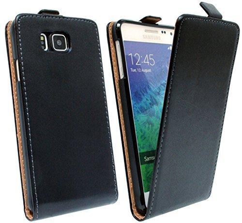 ENERGMiX Klapptasche Schutztasche kompatibel mit Samsung Galaxy Alpha G850F in Schwarz Tasche Hülle