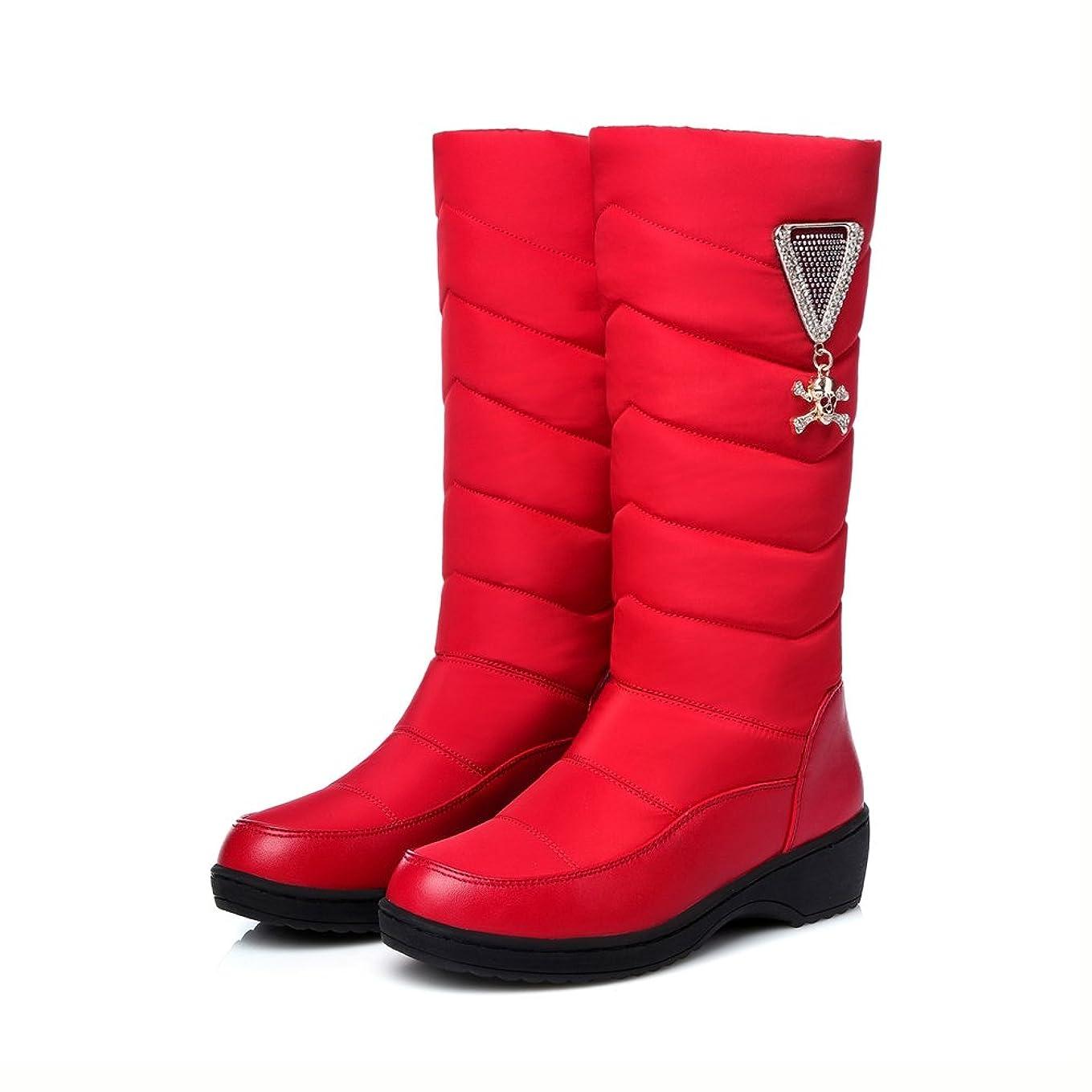 実際にマーキー徒歩で[サニーサニー] スノーブーツ レディース ロングブーツ 大きいサイズ 厚底 ボア付き 中綿入り 防寒 ビジュー 雪靴 メタリック 美脚 防滑 冬用ブーツ 綿靴 歩きやすい 可愛い 柔らかい 厚手 ウィンターブーツ 黒 ブルー レッド