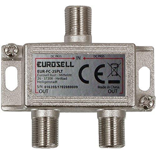Eurosell - Digitaler 2-Fach SAT Antennen Kabel TV BK Verteiler Splitter HDTV 2fach F Verteiler Fernsehen Fernseher Full HD Switch 2er zweier Weiche Umschalter F-Stecker Stammleitungsverteiler