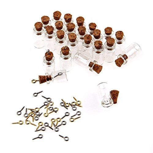 TININNA 50 Pcs Mini Botellas de Vidrio Tubos para Decoración DIY Artesanía Collar Correa,18 mm*10 mm