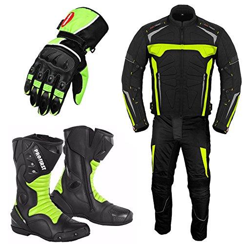 Motorradanzug Mit Handschuh Motorradschuhe - Motorradstiefel - 2 Stuck Anzug Wasserdichte Jacke Mit Hosen Handschuhe Ce Armor All Wetter Herren- Grun -2Xl