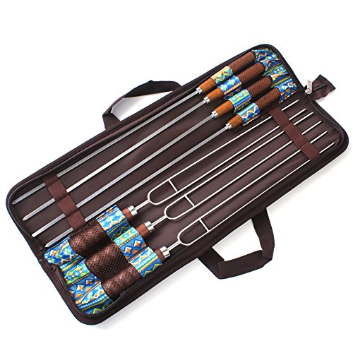 ADSRO Stainless Steel BBQ Fork, Marshmallow BBQ Wooden Handle Hot Dog Fork BBQ Camping Campfire BBQ Cooking Camping Picnic