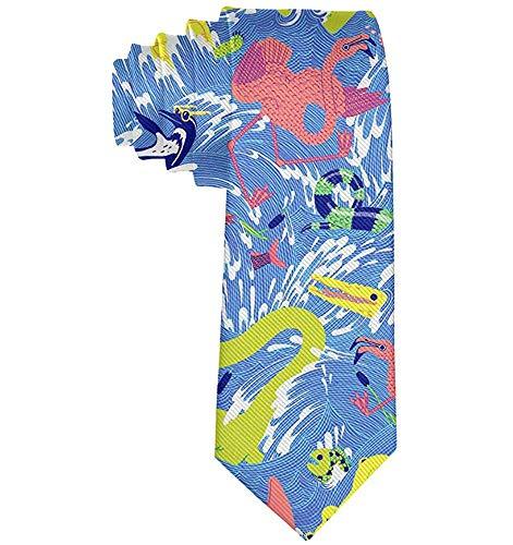 Accesorios De Traje De Corbatas De Novedad Para Hombres - Corbata De Flamenco De Serpiente De Tortuga Oceánica Azul Para Deshierbar Recepción De Graduación