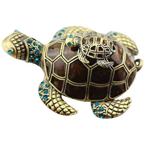 Zengkei Turtle Forma Esmalte Pequeño Joyería Caja, Esmaltado Pequeño Lindo Estilo Decorativa Estrás Joyería Cajita Joyero Único Regalo Para Decoración Hogar, Oropel Estuche