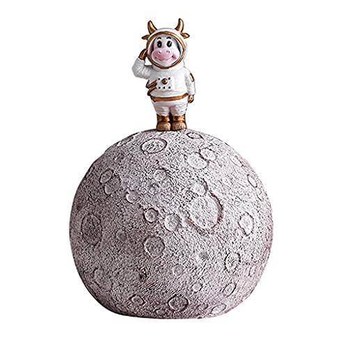 Moneybanks Hucha Spaceman para niños, decoración de Estatua de Astronauta en la Luna, Caja de Ahorro de Monedas de Vaca con Traje Espacial, Adorno para Adultos, Gran Capacidad