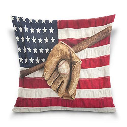 HMZXZ Funda de almohada decorativa de 50,8 x 50,8 cm, diseño de bandera americana, para sofá, dormitorio, sala de estar