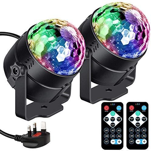FEIGER Disco Lights Disco Ball Party Lights Sound aktiviert, RGB Strobe Lights DJ Light Rotierender Spiegelball Lichteffekt für Kinder Halloween Weihnachten Geburtstag