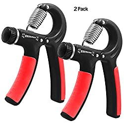 KEKU 2 Pieces of Hand-held Grip Best Hand Exercise with Adjustable Resistance Range 22 to 88 pounds Wrist Finger Forearm Strength Anti-Skid Grip for Athlete Pianist Children (Black)