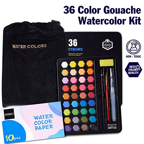 OOKU 36 Professional Gouache Watercolor Kit with Water Brush Pen, Pencils, Pouch   Watercolor Set with Metal Box   Painting Supplies with Palette   Perfect for Artists Students Kids & Adults - Black