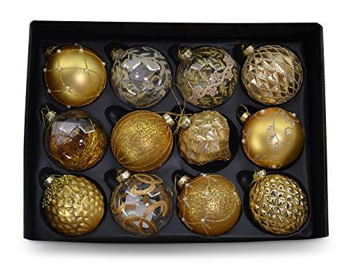 MC Trend Set di 12 palline di Natale in pregiato vetro, con diametro da 8 cm, decorazione per albero di Natale nei colori rosso, oro, argento, trasparente e multicolore