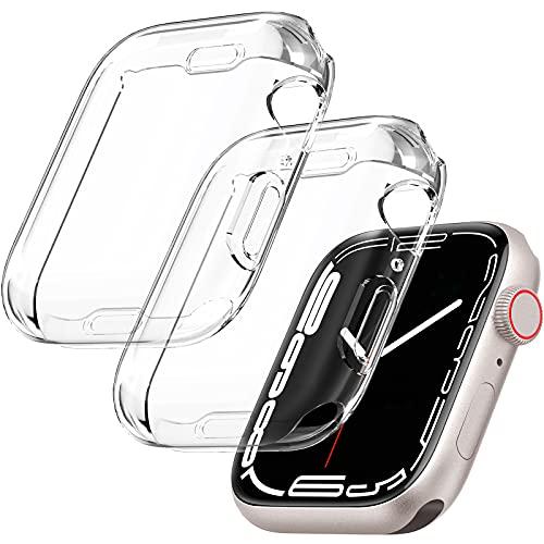 KIMILAR [2 Piezas] Funda Protector Compatible con Apple Watch Series 7 41MM, Suave TPU Cobertura Completa Anti-Choque Caso Protector de Pantalla Case Compatible con iwatch 7 (41mm)