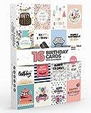 16 x Geburtstagskarten von Joy Masters™ 2. Auflage | Multi Packung mit UMSCHLÄGEN | Großes Set für Männer & Frauen