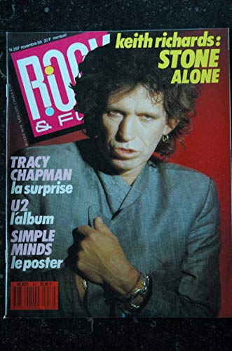 ROCK & FOLK 257 COVER KEITH RICHARDS STONE TRACY CHAPMAN U2 SIMPLE MINDS + POSTER 1988