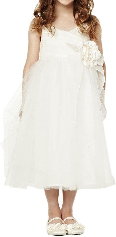 Avril Dress Spaghetti Tea Length Taffeta Tulle Flower Girl Dress Flower