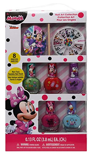 Minnie Nail Art Set in Box - Kids Disney Junior Cute Girls Nail Polish Kit, 8 Pieces of Non-Toxic Peelable Nail Polish and 240 Pieces of Cool Decorating Sparkles Featuring Mouse & Daisy Duck