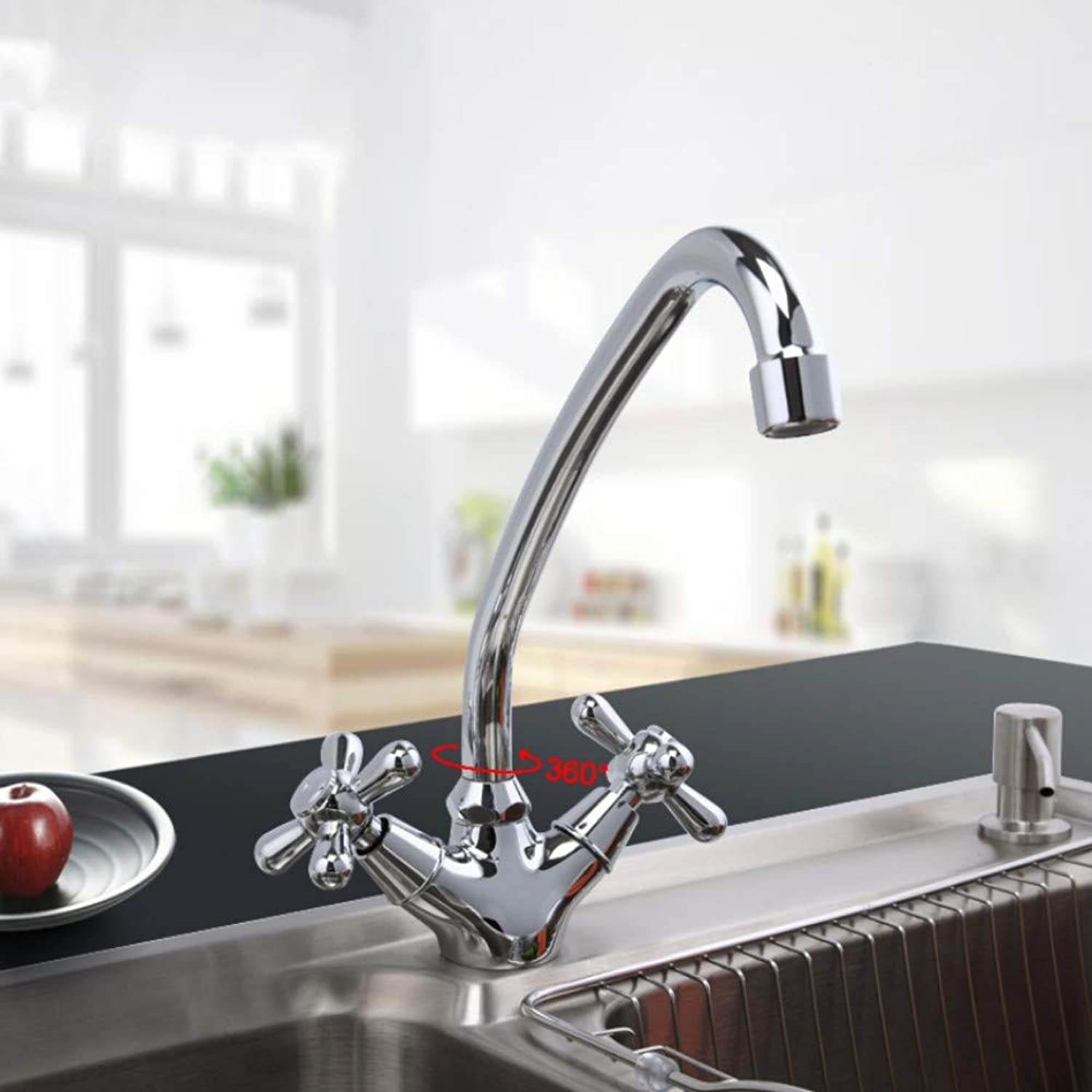 Mzdpp 1 Set Modern Style Deck Mounted Brass Solid Kitchen Faucet Chrome Finish Cold and Hot Water Mixer