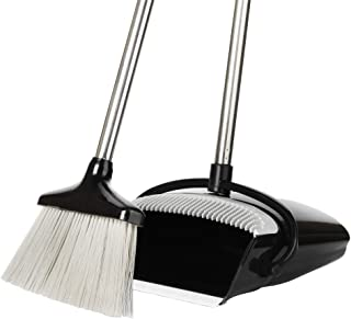 QJQBMAI Extendable Broom and Dustpan Set, Durable & Light Weight Broom and Dust pan Combo with Long Handle, Ideal for Kitchen, Home and Lobby Floor Use