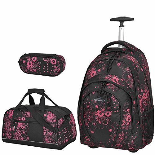 3 Teile Schulset :: Rucksacktrolley KEANU Schultrolley Rucksack :: 33 Liter, 2 Seiten-Netze, 2 A4 Fächer, Organizer :: Schulranzen Schulrucksack + Sporttasche + Etui Box (Valencia Black Pink)